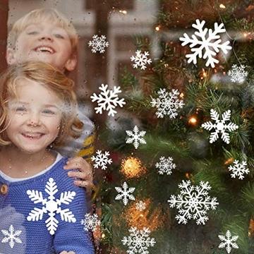 Sinwind 162 Schneeflocken Fensterbild, Fensterbilder Weihnachten Selbstklebend, Winter-deko Weinachts Dekoration, Weihnachten Fenstersticker, Winter Deko Weihnachtsdeko - 6