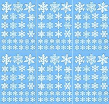 Sinwind 162 Schneeflocken Fensterbild, Fensterbilder Weihnachten Selbstklebend, Winter-deko Weinachts Dekoration, Weihnachten Fenstersticker, Winter Deko Weihnachtsdeko - 8