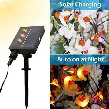 Solar Lichterkette Aussen - 13.5M 60 LED Bienen Lichterkette 8 Modi IP65 Wasserdicht Lichterkette Außen mit Fernbedienung Timer Dimmbar Lichterkette Solar für Bäume Terrasse Partys Garten(Warmweiß) - 4
