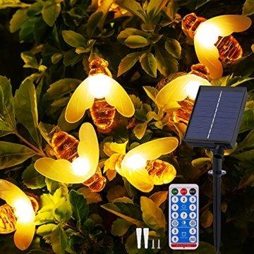 Solar Lichterkette Aussen - 13.5M 60 LED Bienen Lichterkette 8 Modi IP65 Wasserdicht Lichterkette Außen mit Fernbedienung Timer Dimmbar Lichterkette Solar für Bäume Terrasse Partys Garten(Warmweiß) - 1