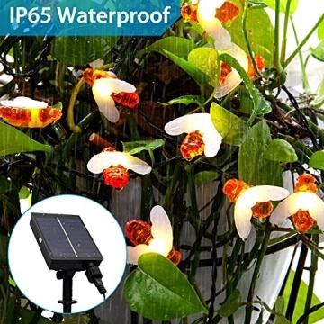 Solar Lichterkette Aussen - 13.5M 60 LED Bienen Lichterkette 8 Modi IP65 Wasserdicht Lichterkette Außen mit Fernbedienung Timer Dimmbar Lichterkette Solar für Bäume Terrasse Partys Garten(Warmweiß) - 5