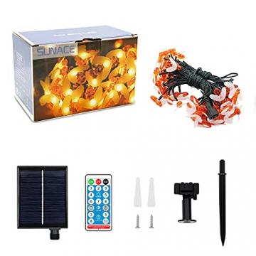 Solar Lichterkette Aussen - 13.5M 60 LED Bienen Lichterkette 8 Modi IP65 Wasserdicht Lichterkette Außen mit Fernbedienung Timer Dimmbar Lichterkette Solar für Bäume Terrasse Partys Garten(Warmweiß) - 7