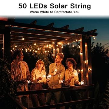 Solar Lichterkette Außen, 7.5M 50 LEDs Kristall Kugeln, Wasserdicht mit 8 Leuchtmodis Lichterkette für Balkon, Gartendeko, Bäume, Terrasse, Hochzeiten, Weihnachtsbeleuchtung (Warmweiß) - 2