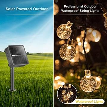 Solar Lichterkette Außen, 7.5M 50 LEDs Kristall Kugeln, Wasserdicht mit 8 Leuchtmodis Lichterkette für Balkon, Gartendeko, Bäume, Terrasse, Hochzeiten, Weihnachtsbeleuchtung (Warmweiß) - 3