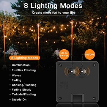 Solar Lichterkette Außen, 7.5M 50 LEDs Kristall Kugeln, Wasserdicht mit 8 Leuchtmodis Lichterkette für Balkon, Gartendeko, Bäume, Terrasse, Hochzeiten, Weihnachtsbeleuchtung (Warmweiß) - 4