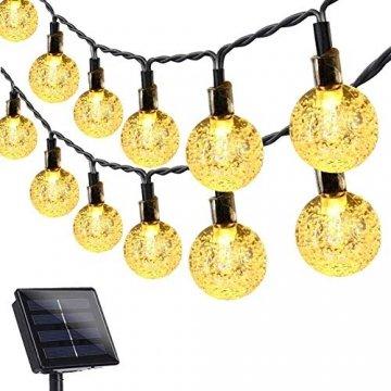 Solar Lichterkette Außen, 7.5M 50 LEDs Kristall Kugeln, Wasserdicht mit 8 Leuchtmodis Lichterkette für Balkon, Gartendeko, Bäume, Terrasse, Hochzeiten, Weihnachtsbeleuchtung (Warmweiß) - 1
