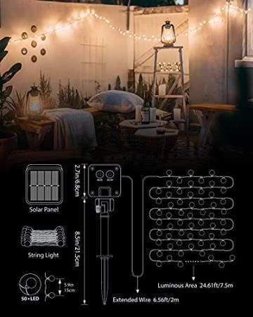 Solar Lichterkette Außen, 7.5M 50 LEDs Kristall Kugeln, Wasserdicht mit 8 Leuchtmodis Lichterkette für Balkon, Gartendeko, Bäume, Terrasse, Hochzeiten, Weihnachtsbeleuchtung (Warmweiß) - 6