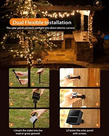 Solar Lichterkette Außen, 7.5M 50 LEDs Kristall Kugeln, Wasserdicht mit 8 Leuchtmodis Lichterkette für Balkon, Gartendeko, Bäume, Terrasse, Hochzeiten, Weihnachtsbeleuchtung (Warmweiß) - 7