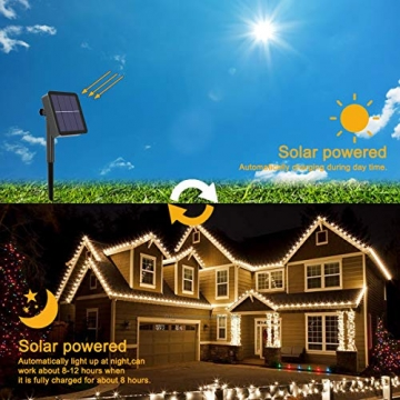 Solar Lichterkette Außen, FOCHEA 2 Stück 12M 120 LED Lichterketten Aussen Solarbetriebene, Wasserdicht Kupferdraht Weihnachtsbeleuchtung Warmweiß Lichterkette mit 8 Modi für Balkon, Garten, Bäume - 2