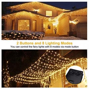 Solar Lichterkette Außen, FOCHEA 2 Stück 12M 120 LED Lichterketten Aussen Solarbetriebene, Wasserdicht Kupferdraht Weihnachtsbeleuchtung Warmweiß Lichterkette mit 8 Modi für Balkon, Garten, Bäume - 3