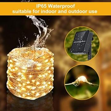 Solar Lichterkette Außen, FOCHEA 2 Stück 12M 120 LED Lichterketten Aussen Solarbetriebene, Wasserdicht Kupferdraht Weihnachtsbeleuchtung Warmweiß Lichterkette mit 8 Modi für Balkon, Garten, Bäume - 4