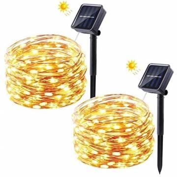 Solar Lichterkette Außen, FOCHEA 2 Stück 12M 120 LED Lichterketten Aussen Solarbetriebene, Wasserdicht Kupferdraht Weihnachtsbeleuchtung Warmweiß Lichterkette mit 8 Modi für Balkon, Garten, Bäume - 1