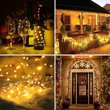 Solar Lichterkette Außen, FOCHEA 2 Stück 12M 120 LED Lichterketten Aussen Solarbetriebene, Wasserdicht Kupferdraht Weihnachtsbeleuchtung Warmweiß Lichterkette mit 8 Modi für Balkon, Garten, Bäume - 5