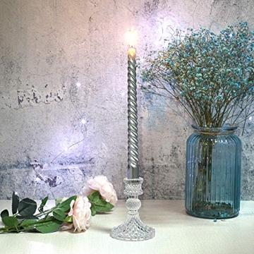 SUMTREE Vintage kerzenständer aus Glas,Kerzenleuchter Kerzenhalter,Kerzenleuchter für Stumpenkerzen, Tischdeko für Weihnachten Geburtstag und Hochzeit (Durchsichtsfarbe) - 3