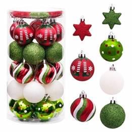 Sunshine smile 35 Stück Weihnachtskugeln,christbaumkugeln Set weihnachtlichen, weihnachtskugeln weihnachtsdeko,weihnachtskugeln baumschmuck,Weihnachtsbaumschmuck,Weihnachten Deko(Rot grün weiß) - 1