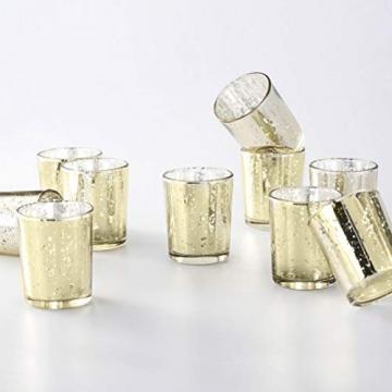 Supreme Lights Glas Teelichthalter 12er Set, 5.2x6.2cm, Gefleckter Teelichtgläser Geschenk Kerzenhalter Deko für Geburtstag, Party, Hochzeit, Feier, Haushalt, Gastronomie(Gold) - 2