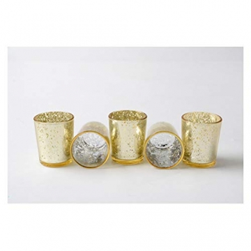 Supreme Lights Glas Teelichthalter 12er Set, 5.2x6.2cm, Gefleckter Teelichtgläser Geschenk Kerzenhalter Deko für Geburtstag, Party, Hochzeit, Feier, Haushalt, Gastronomie(Gold) - 3