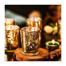Supreme Lights Glas Teelichthalter 12er Set, 5.2x6.2cm, Gefleckter Teelichtgläser Geschenk Kerzenhalter Deko für Geburtstag, Party, Hochzeit, Feier, Haushalt, Gastronomie(Gold) - 1