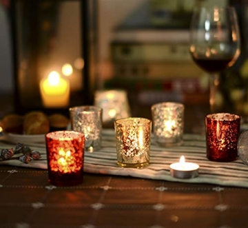 Supreme Lights Glas Teelichthalter 12er Set, 5.2x6.2cm, Gefleckter Teelichtgläser Geschenk Kerzenhalter Deko für Geburtstag, Party, Hochzeit, Feier, Haushalt, Gastronomie(Gold) - 4