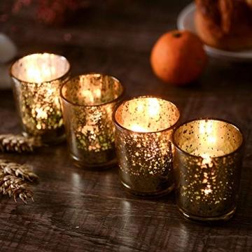 Supreme Lights Glas Teelichthalter 12er Set, 5.2x6.2cm, Gefleckter Teelichtgläser Geschenk Kerzenhalter Deko für Geburtstag, Party, Hochzeit, Feier, Haushalt, Gastronomie(Gold) - 5