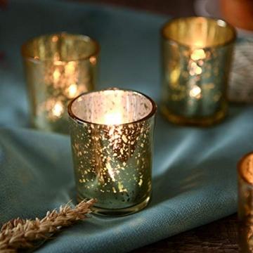 Supreme Lights Glas Teelichthalter 12er Set, 5.2x6.2cm, Gefleckter Teelichtgläser Geschenk Kerzenhalter Deko für Geburtstag, Party, Hochzeit, Feier, Haushalt, Gastronomie(Gold) - 9