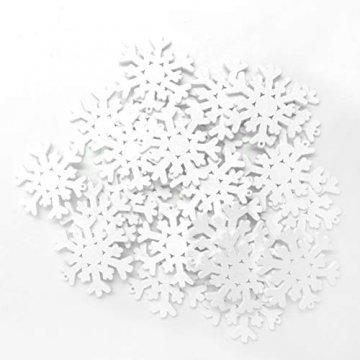 SUPVOX 100 Stücke Holz Schneeflocke Anhänger Christbaumanhänger Weihnachtsanhänger DIY Holzscheiben Baumschmuck Holz Streudeko Weihnachtsdeko zum Aufhängen 35mm (Weiß) - 2