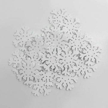 SUPVOX 100 Stücke Holz Schneeflocke Anhänger Christbaumanhänger Weihnachtsanhänger DIY Holzscheiben Baumschmuck Holz Streudeko Weihnachtsdeko zum Aufhängen 35mm (Weiß) - 5
