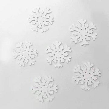 SUPVOX 100 Stücke Holz Schneeflocke Anhänger Christbaumanhänger Weihnachtsanhänger DIY Holzscheiben Baumschmuck Holz Streudeko Weihnachtsdeko zum Aufhängen 35mm (Weiß) - 7