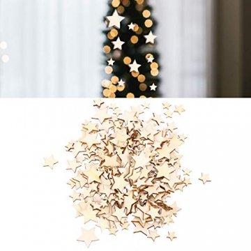SUPVOX 200 Stücke Holzsterne Holzscheiben Baumscheiben Naturholzscheiben für Weihnachtsbaum Anhänger Hochzeit Basteln DIY Baumschmuck Holz Streudeko Tischdeko Weihnachtsdeko (Stern) - 2