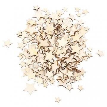 SUPVOX 200 Stücke Holzsterne Holzscheiben Baumscheiben Naturholzscheiben für Weihnachtsbaum Anhänger Hochzeit Basteln DIY Baumschmuck Holz Streudeko Tischdeko Weihnachtsdeko (Stern) - 1