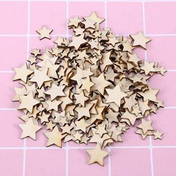 SUPVOX 200 Stücke Holzsterne Holzscheiben Baumscheiben Naturholzscheiben für Weihnachtsbaum Anhänger Hochzeit Basteln DIY Baumschmuck Holz Streudeko Tischdeko Weihnachtsdeko (Stern) - 5