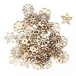 SUPVOX 50 Stücke Holzscheiben Blumen Scheiben Baumscheiben Naturholzscheiben für Weihnachtsbaum Anhänger Hochzeit Basteln DIY Baumschmuck Holz Streudeko Tischdeko Weihnachtsdeko (Mischmuster) - 1