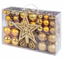 Sweelov Weihnachtskugeln Set mit 101 Weihnachtsbaumkugeln Gold Weihnachtssterndekorationen Weihnachtsbaumkamm Festival Kulissen (30/40/60mm) - 1