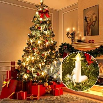 SZILBZ 30Stk Weihnachten LED Kerzen Lichterkette Weihnachtsbaumkerzen weihnachtskerzen Christbaumkerzen mit Fernbedienung Kabellos - 2
