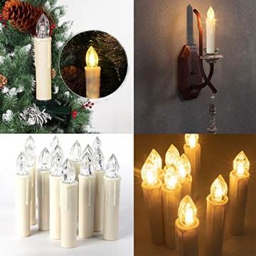 SZILBZ 30Stk Weihnachten LED Kerzen Lichterkette Weihnachtsbaumkerzen weihnachtskerzen Christbaumkerzen mit Fernbedienung Kabellos - 3