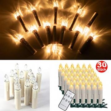 SZILBZ 30Stk Weihnachten LED Kerzen Lichterkette Weihnachtsbaumkerzen weihnachtskerzen Christbaumkerzen mit Fernbedienung Kabellos - 8