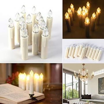 SZILBZ 30Stk Weihnachten LED Kerzen Lichterkette Weihnachtsbaumkerzen weihnachtskerzen Christbaumkerzen mit Fernbedienung Kabellos - 9
