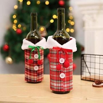 Tacey Weinflaschen-Set, Weihnachtstischdekoration, Europäisch-Amerikanisches Weinset, Flaschenset Mit Schleifen-Plaid Aus Simuliertem Leinen, Weinflaschen-Abdeckset Mit Urlaubslayout, 6,69 9,06 Zoll - 7