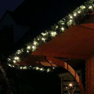 Tannengirlande mit Lichterkette grün 8,1 m mit 120 LED beleuchtet, künstliche Tannengirlande, Weihnachtsbeleuchtung außen - 2