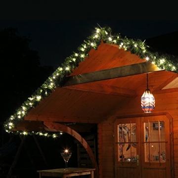 Tannengirlande mit Lichterkette grün 8,1 m mit 120 LED beleuchtet, künstliche Tannengirlande, Weihnachtsbeleuchtung außen - 3