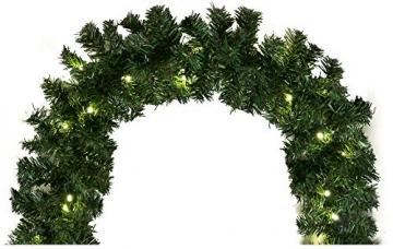 Tannengirlande mit Lichterkette grün 8,1 m mit 120 LED beleuchtet, künstliche Tannengirlande, Weihnachtsbeleuchtung außen - 4