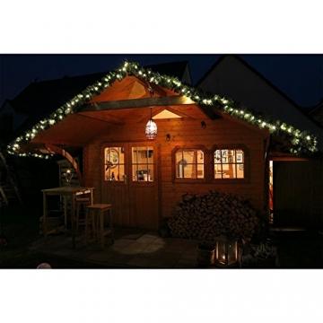 Tannengirlande mit Lichterkette grün 8,1 m mit 120 LED beleuchtet, künstliche Tannengirlande, Weihnachtsbeleuchtung außen - 5
