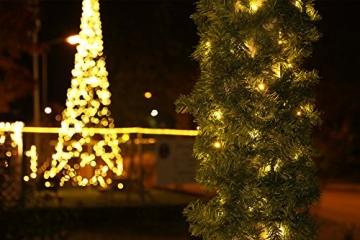 Tannengirlande mit Lichterkette grün 8,1 m mit 120 LED beleuchtet, künstliche Tannengirlande, Weihnachtsbeleuchtung außen - 6