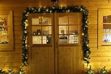 Tannengirlande mit Lichterkette grün 8,1 m mit 120 LED beleuchtet, künstliche Tannengirlande, Weihnachtsbeleuchtung außen - 7