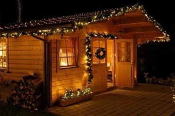 Tannengirlande mit Lichterkette grün 8,1 m mit 120 LED beleuchtet, künstliche Tannengirlande, Weihnachtsbeleuchtung außen - 8