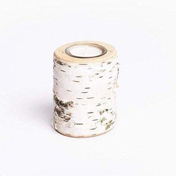 Teelichthalter aus Birken-Holz 3er Set | Kerzenhalter Holz-Deko Windlicht Weihnachtsdeko | Tisch-Deko Hochzeits Deko Teelicht | 3er Set 10, 12 & 14cm - 2