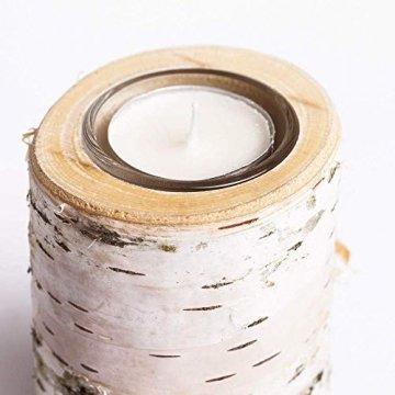 Teelichthalter aus Birken-Holz 3er Set | Kerzenhalter Holz-Deko Windlicht Weihnachtsdeko | Tisch-Deko Hochzeits Deko Teelicht | 3er Set 10, 12 & 14cm - 3