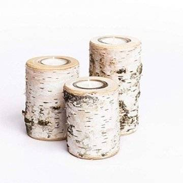 Teelichthalter aus Birken-Holz 3er Set | Kerzenhalter Holz-Deko Windlicht Weihnachtsdeko | Tisch-Deko Hochzeits Deko Teelicht | 3er Set 10, 12 & 14cm - 1