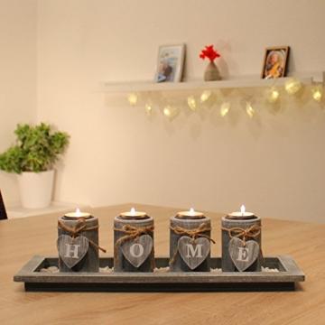 Teelichthalter-Set Holz Tablett Landhaus Tischdekoration Windlicht Weihnachtsdekoration innen - 2