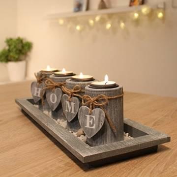 Teelichthalter-Set Holz Tablett Landhaus Tischdekoration Windlicht Weihnachtsdekoration innen - 1